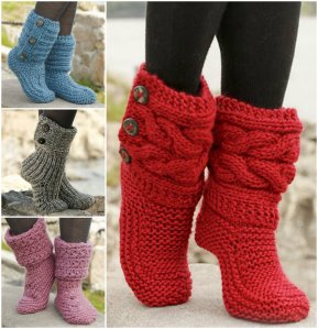 Knitted-and-Crochet-Slipper-Boots-