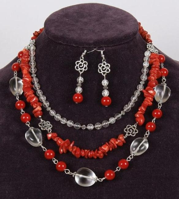 Coral Bead Jewelry and Earrings Set