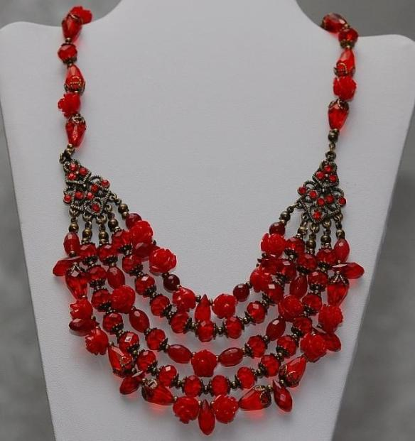 Amazing Red Bead Bib Necklace