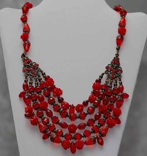 Amazing Red Bead Bib Necklace